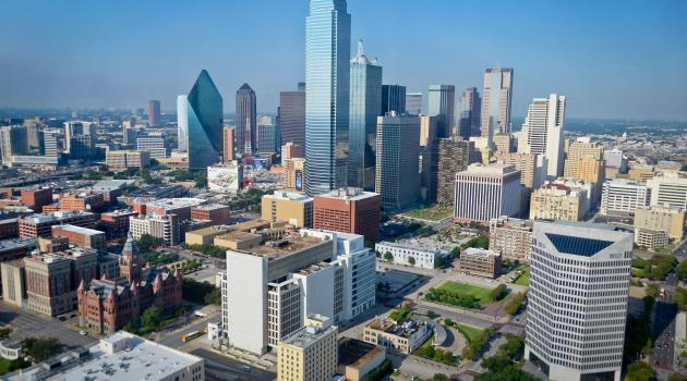 Aerial view of Dallas Skyline