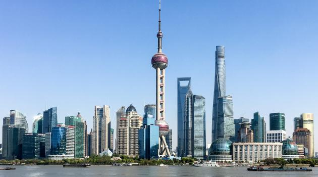 View of Shanghai skyline including Oriential Pearl Tower