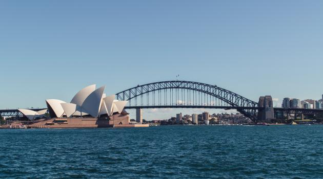 View from the water of Sydney Opera House and the Harbor Bridge