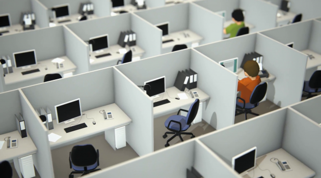 People working at desk in office cubicle