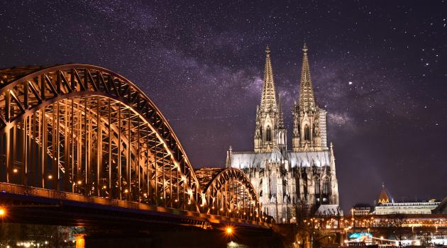 View of Cologne Cathedral and bridge