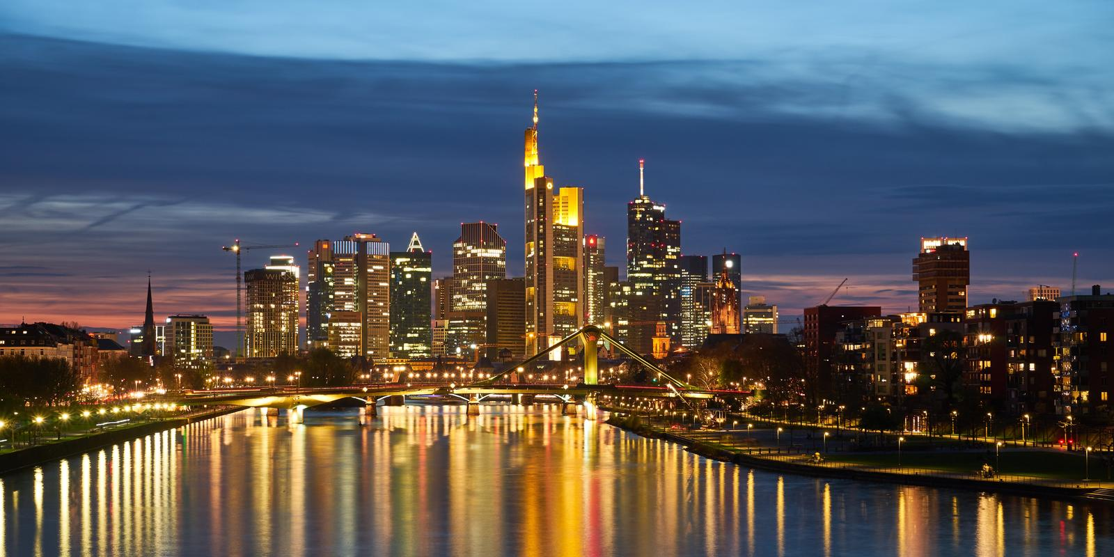 Aerial view of Frankfurt skyline