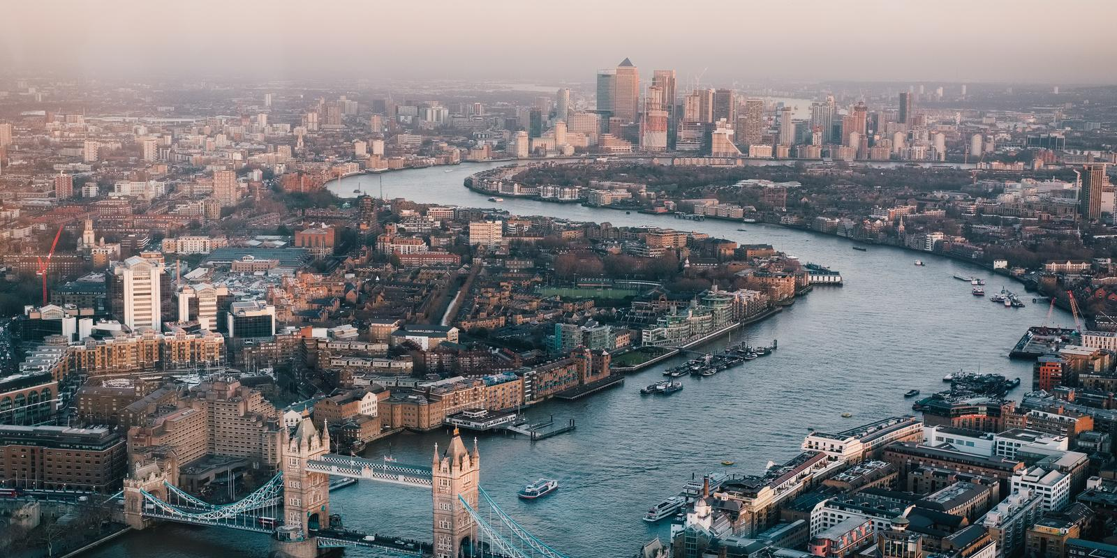 Aerial view of London skyline and Thames River