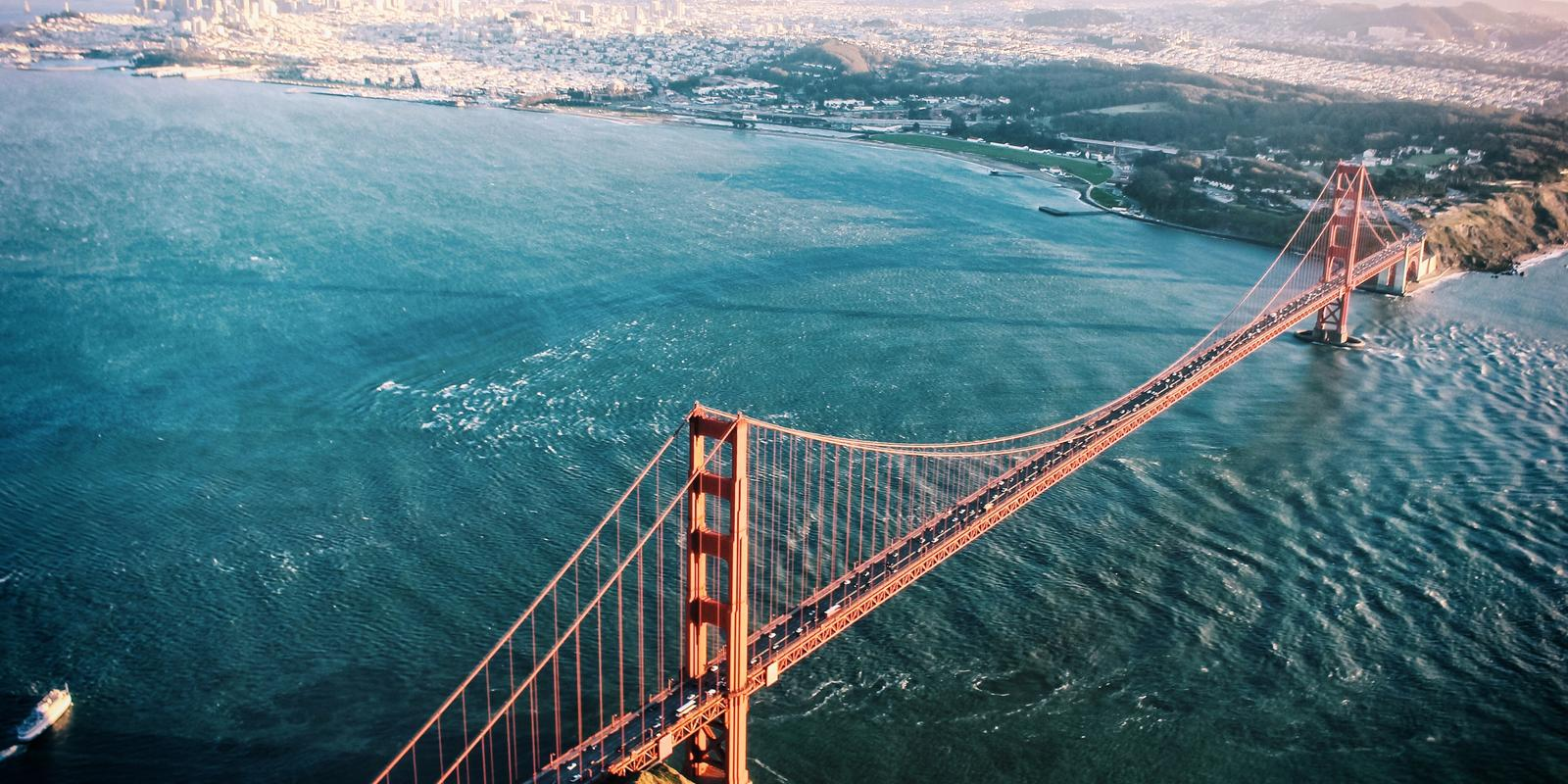 Aerial view of the San Francisco Golden Gate Bridge