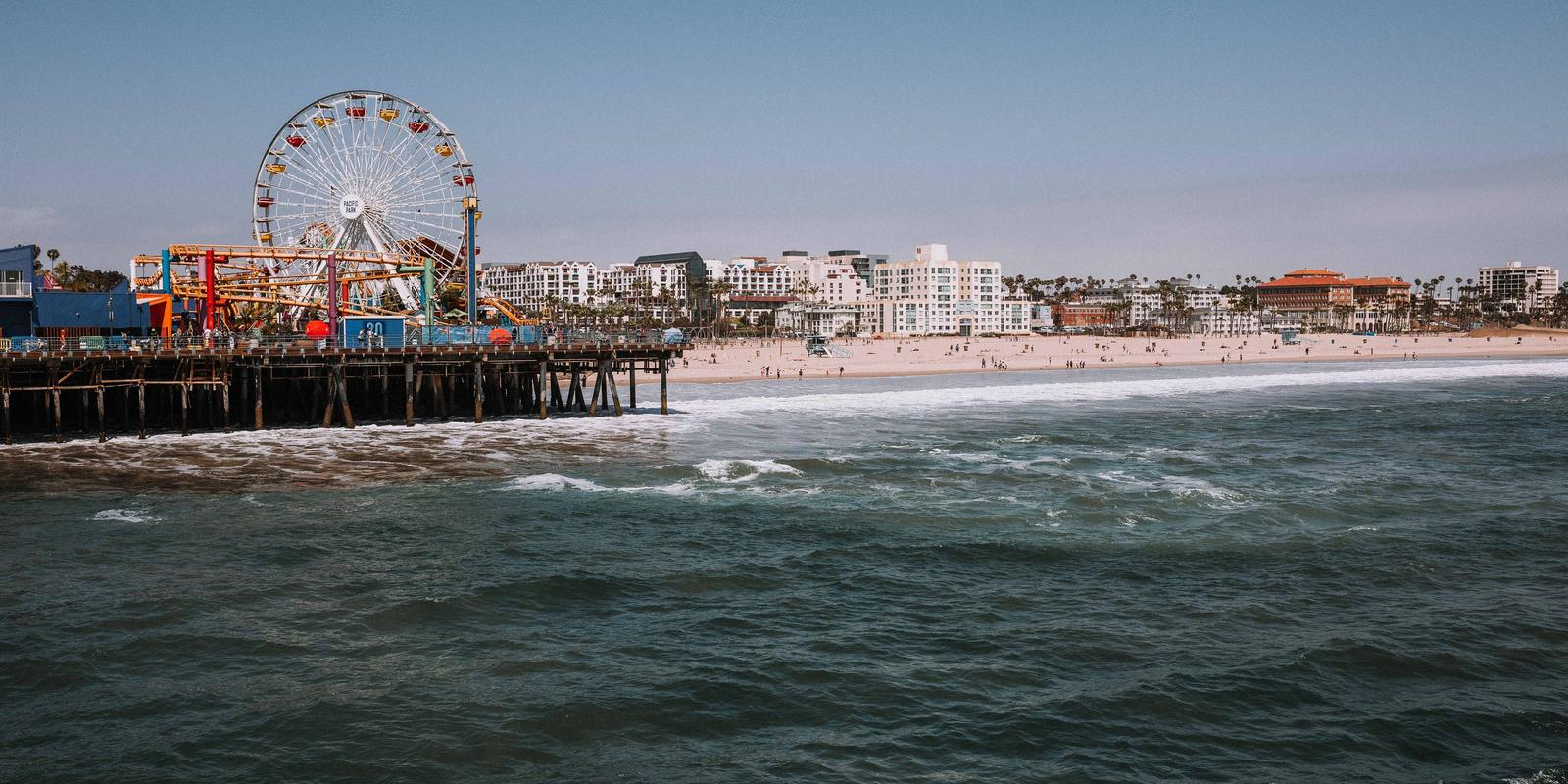 View from the ocean of rollercoaster on the Santa Monica Pier