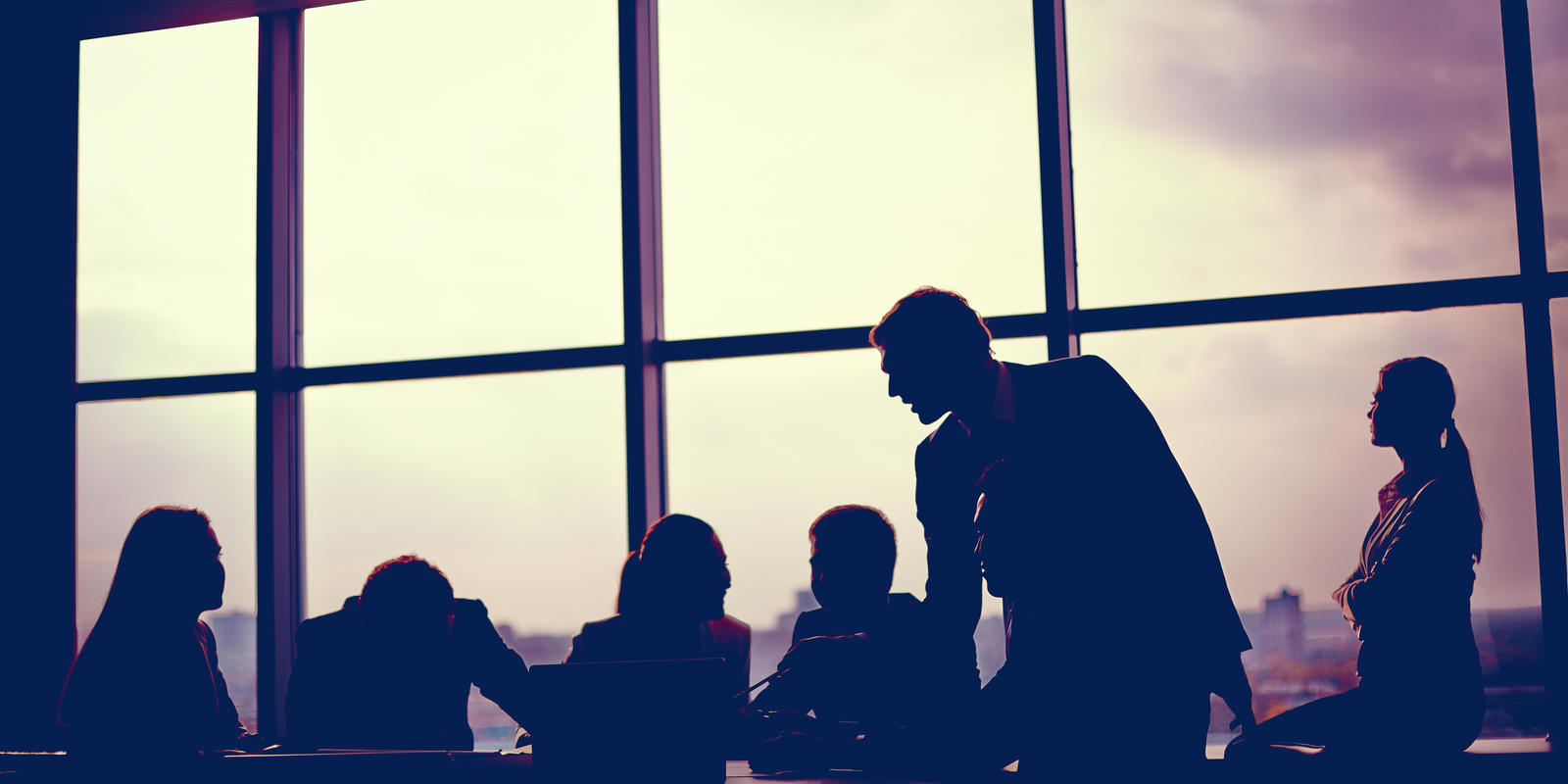 Corporate Meeting Stock Imagery Silhouettes Against Glass Window