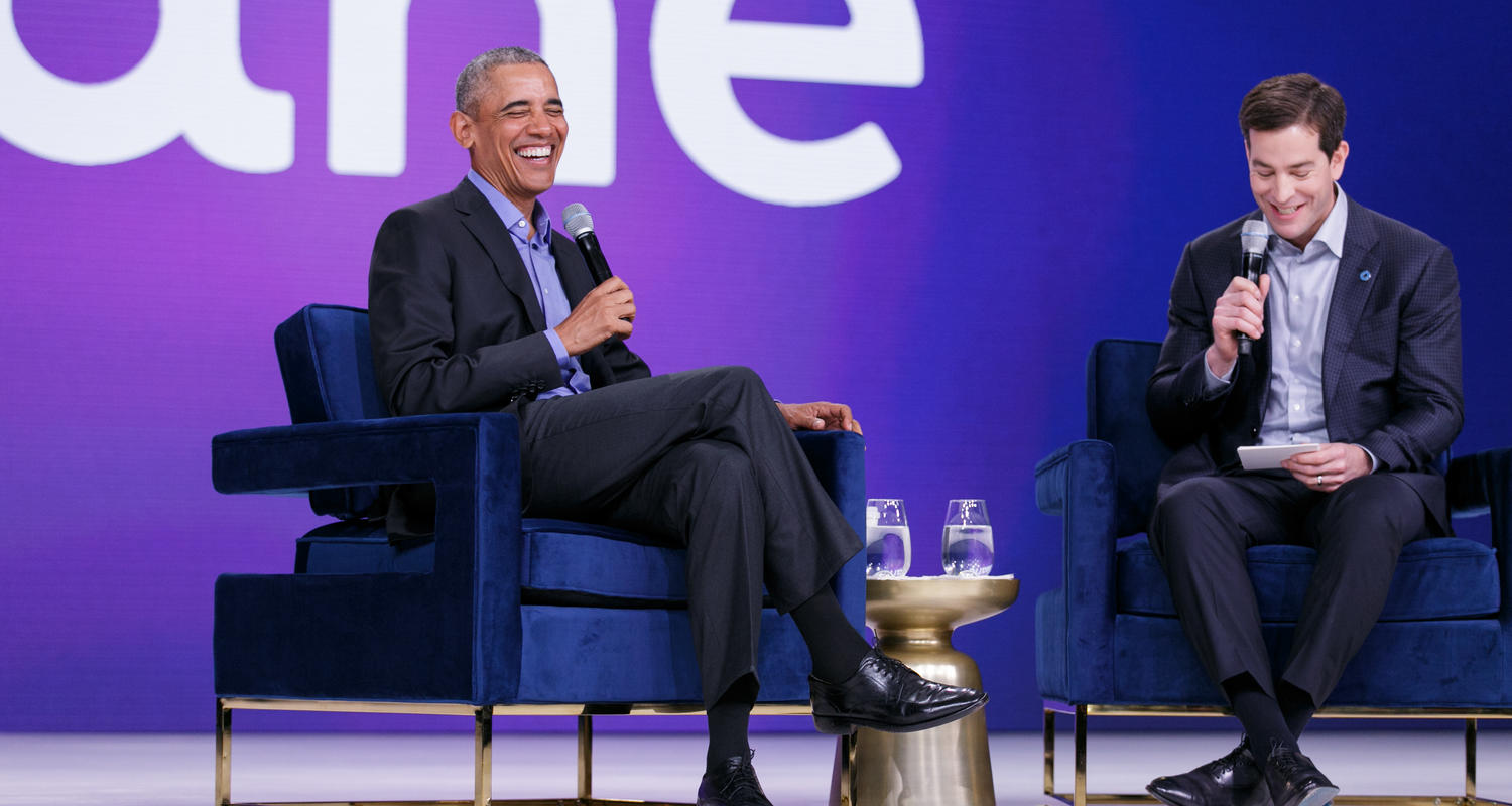 Obama and host laughing at Oktane presentation