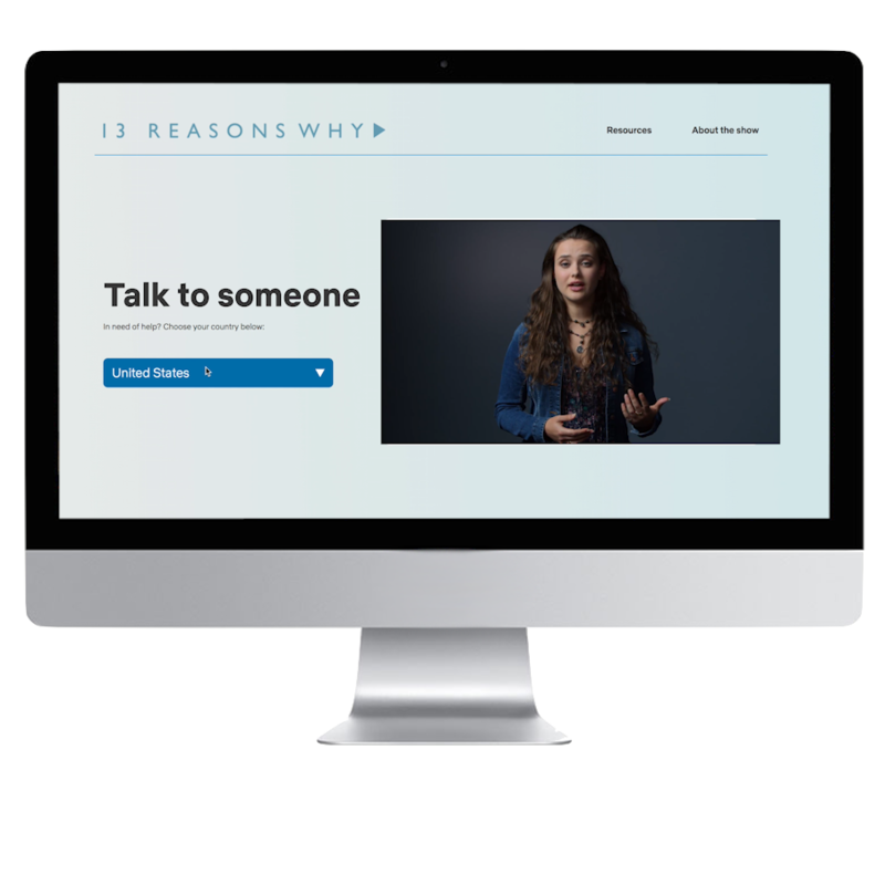 Netflix 13 Reasons Why Talk to Someone Landing Page