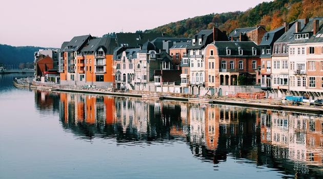 Assorted-color of houses near lake in Belgium