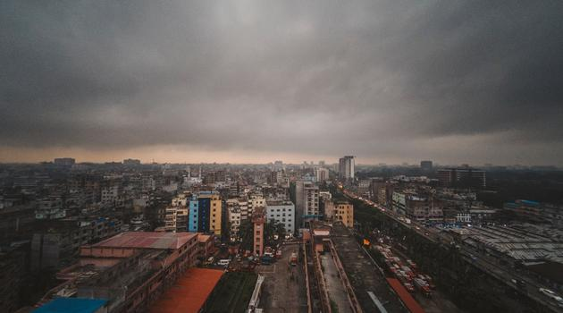 Aerial photography of high rise buildings in Bangladesh
