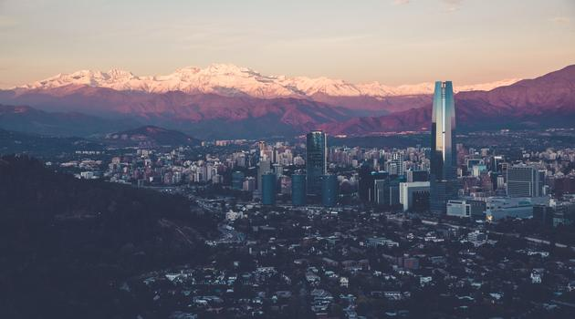 Birds eye view of Chile during sun rise