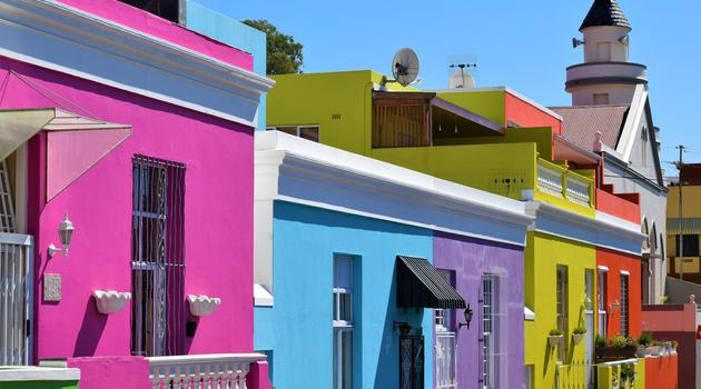 Assorted-color painted houses in South Africa