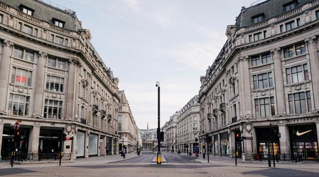 Empty street in London