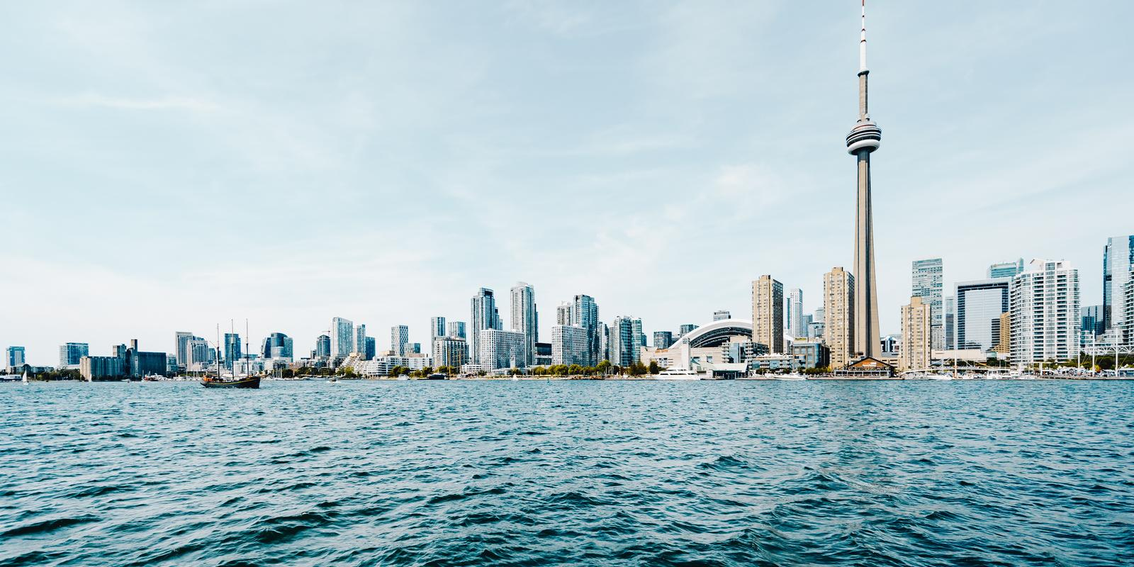 View from the water of the Toronto Skyline including the CN TTower