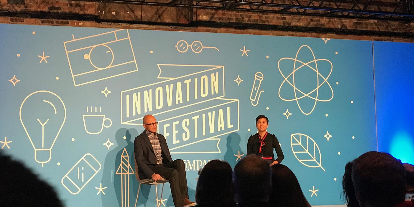 Microsoft CEO, Satya Nadella on a panel about innovation