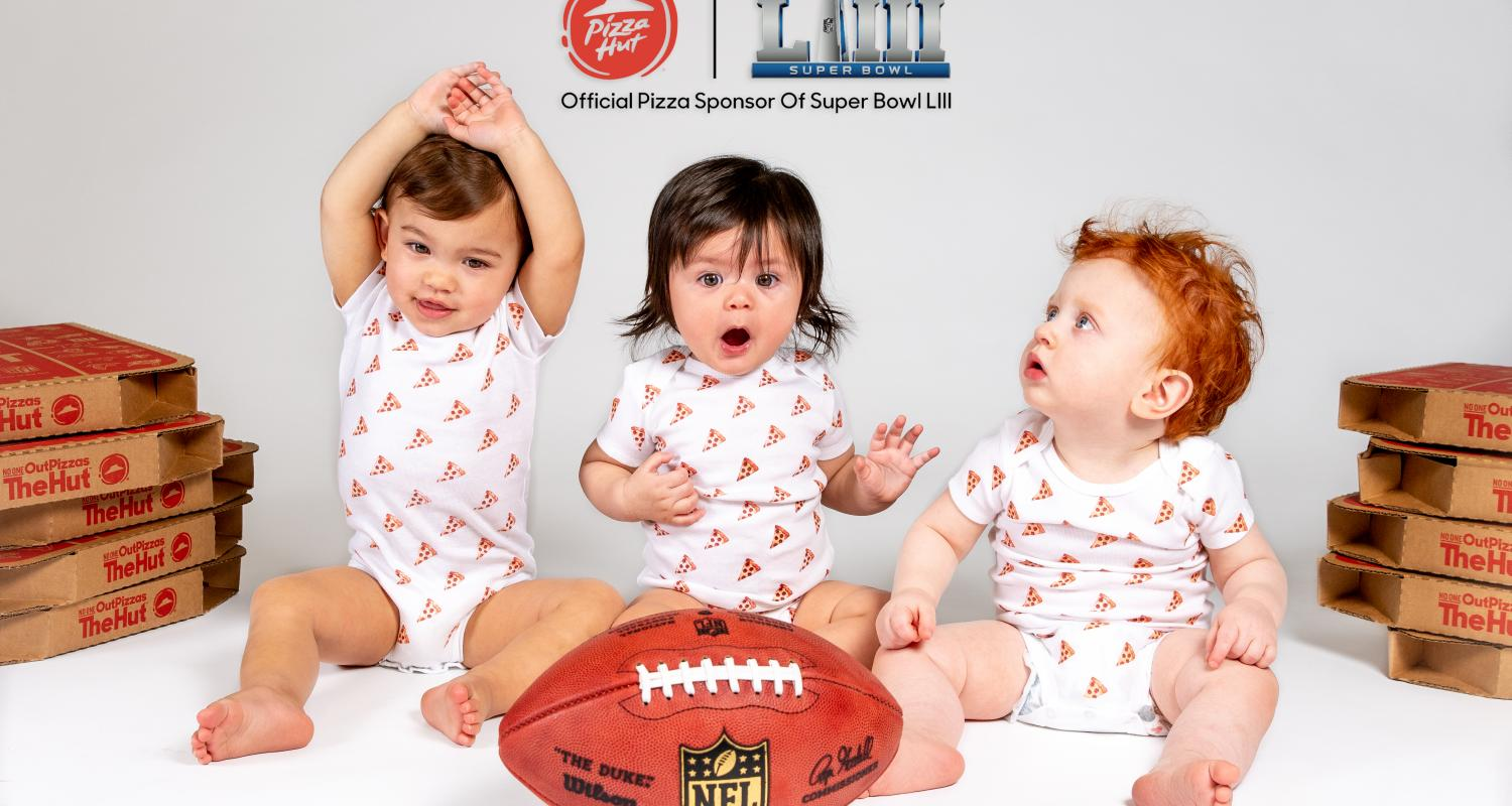 Babies born on Super Bowl Sunday with Pizza Hut logo and football