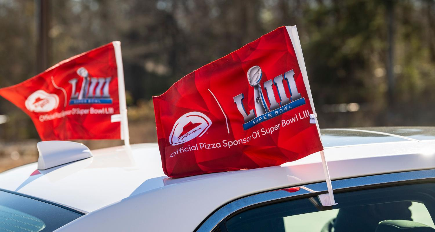 Pizza Hut Car Flags at Super Bowl LIII
